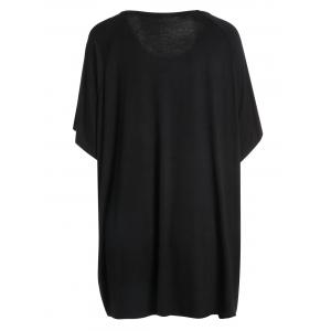 Plus Size Dolman Sleeve Graphic Tunic T-Shirt - BLACK ONE SIZE
