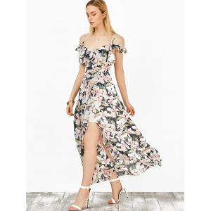 Floral Slit Maxi Cold Shoulder Boho Beachwear Dress - COLORMIX M