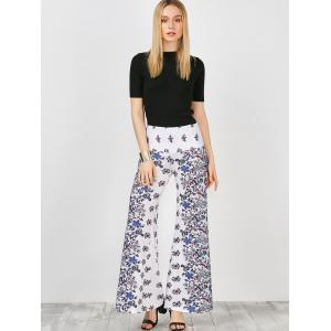 High Waisted Long Palazzo Floral Pants - WHITE M