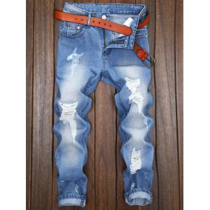 Zipper Fly Distressed Nine Minutes of Jeans - LIGHT BLUE 32