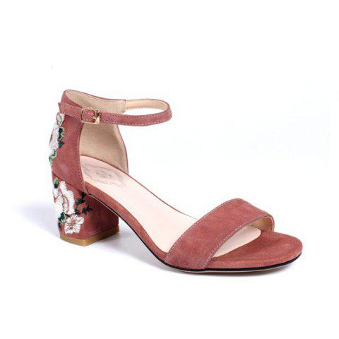 Chic Ankle Wrap Embroidery Sandals - PINK 38 Mobile