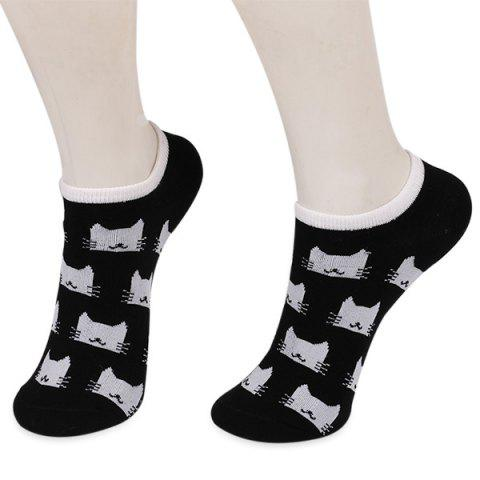Shops Knitting Cartoon Cats Embellished Ankle Socks BLACK
