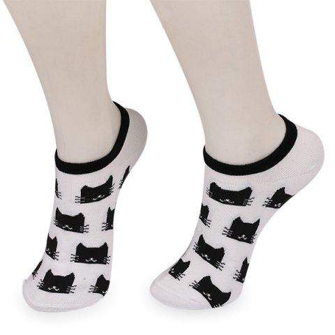 Sale Knitting Cartoon Cats Embellished Ankle Socks - CRYSTAL CREAM  Mobile