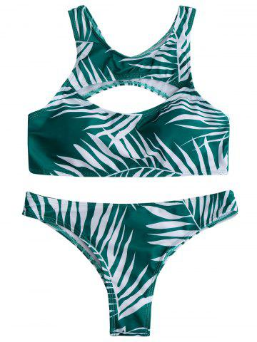 Affordable Cut Out Tropical Racerback Bikini Swimwear GREEN S