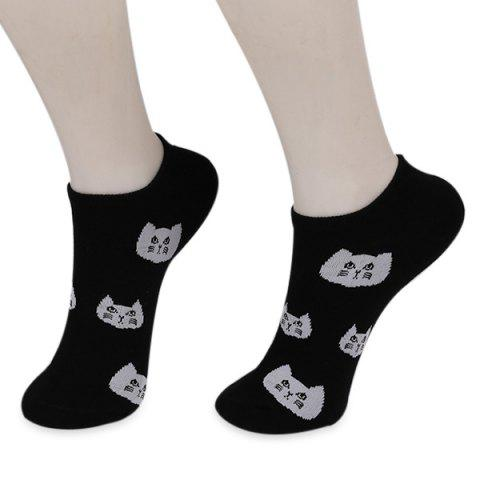 Trendy Kintted Cats Heads Pattern Ankle Socks BLACK