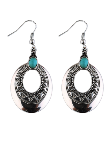 Best Carved Boho Oval Faux Turquoise Hook Earrings SILVER