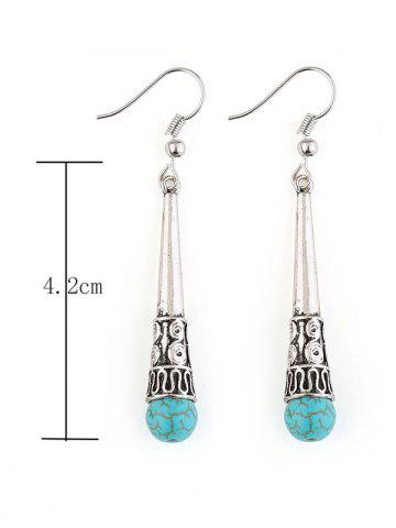Chic Column Carved Bohemian Artificial Turquoise Drop Earrings - SILVER  Mobile
