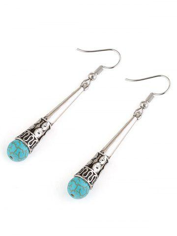 Outfit Column Carved Bohemian Artificial Turquoise Drop Earrings - SILVER  Mobile