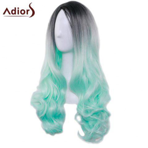 Hot Adiors Long Middle Part Gradient Wavy Synthetic Cosplay Lolita Wig - BLACK AND GREEN  Mobile