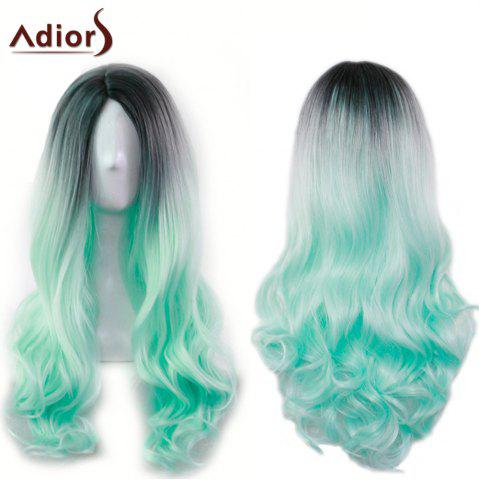 Discount Adiors Long Middle Part Gradient Wavy Synthetic Cosplay Lolita Wig BLACK AND GREEN