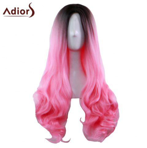 Hot Adiors Long Middle Part Gradient Wavy Synthetic Cosplay Lolita Wig - BLACK AND RED  Mobile