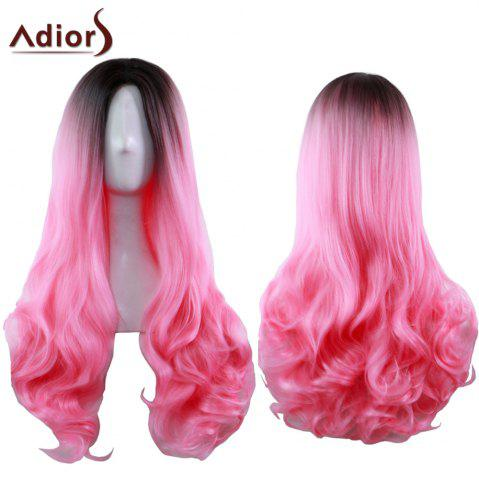 Outfits Adiors Long Middle Part Gradient Wavy Synthetic Cosplay Lolita Wig BLACK/RED