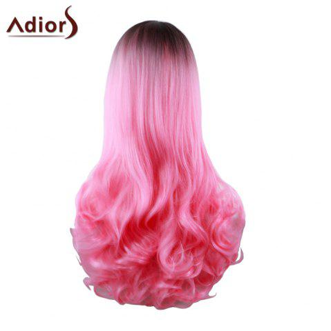 Shops Adiors Long Middle Part Gradient Wavy Synthetic Cosplay Lolita Wig - BLACK AND RED  Mobile