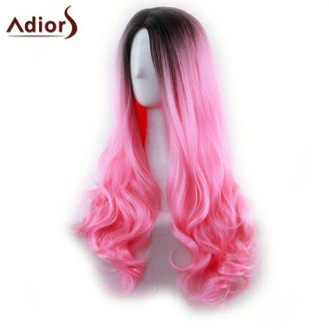 Fashion Adiors Long Middle Part Gradient Wavy Synthetic Cosplay Lolita Wig - BLACK AND RED  Mobile