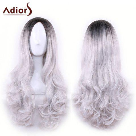 Hot Adiors Long Middle Part Gradient Wavy Synthetic Cosplay Lolita Wig BLACK GREY