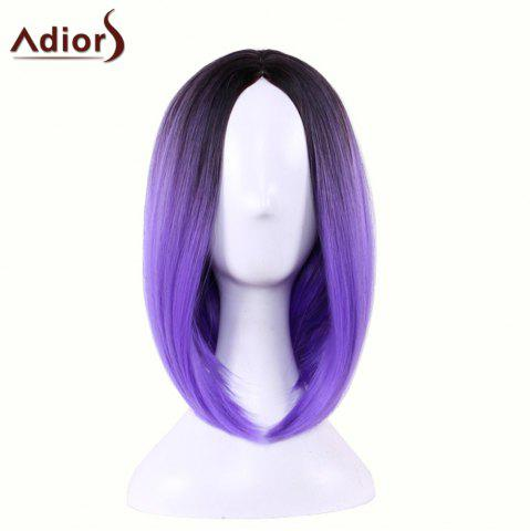 Shops Adiors Straight Middle Part Ombre Medium Bob Cosplay Lolita Wig - BLACK AND PURPLE  Mobile