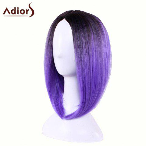 Outfit Adiors Straight Middle Part Ombre Medium Bob Cosplay Lolita Wig - BLACK AND PURPLE  Mobile