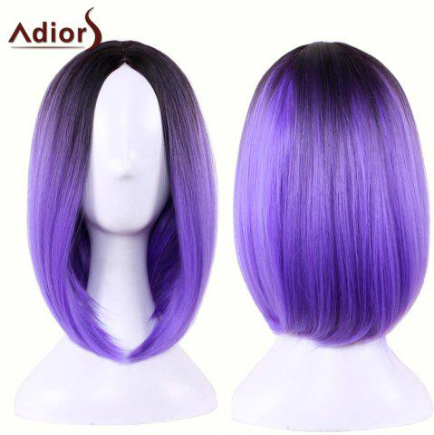 Fashion Adiors Straight Middle Part Ombre Medium Bob Cosplay Lolita Wig - BLACK AND PURPLE  Mobile