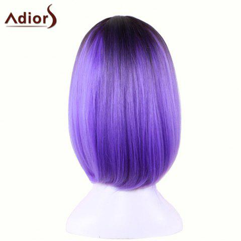 Chic Adiors Straight Middle Part Ombre Medium Bob Cosplay Lolita Wig - BLACK AND PURPLE  Mobile