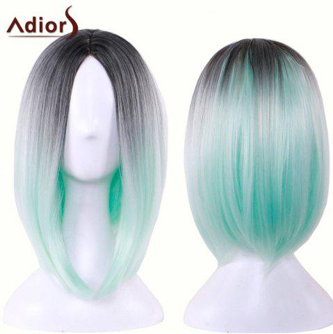 Shops Adiors Straight Middle Part Ombre Medium Bob Cosplay Lolita Wig BLACK AND GREEN