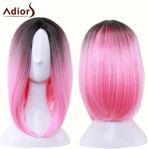 Outfit Adiors Straight Middle Part Ombre Medium Bob Cosplay Lolita Wig BLACK/RED