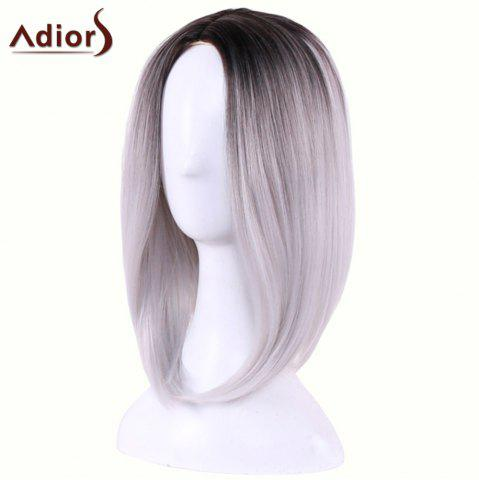 Affordable Adiors Straight Middle Part Ombre Medium Bob Cosplay Lolita Wig - BLACK GREY  Mobile