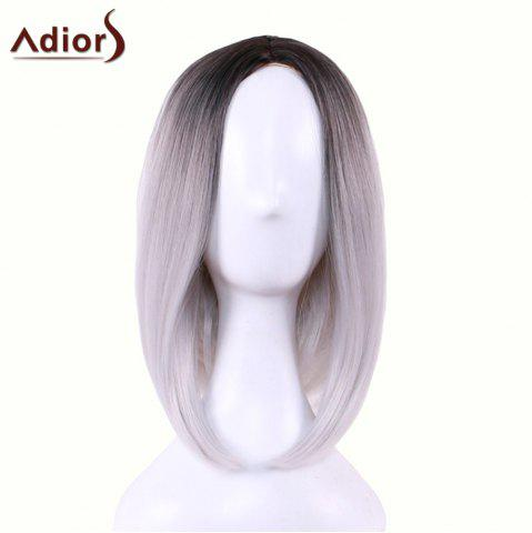 Discount Adiors Straight Middle Part Ombre Medium Bob Cosplay Lolita Wig - BLACK GREY  Mobile
