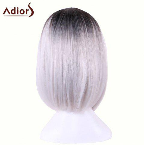 Hot Adiors Straight Middle Part Ombre Medium Bob Cosplay Lolita Wig - BLACK GREY  Mobile