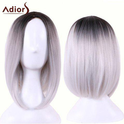 Chic Adiors Straight Middle Part Ombre Medium Bob Cosplay Lolita Wig - BLACK GREY  Mobile