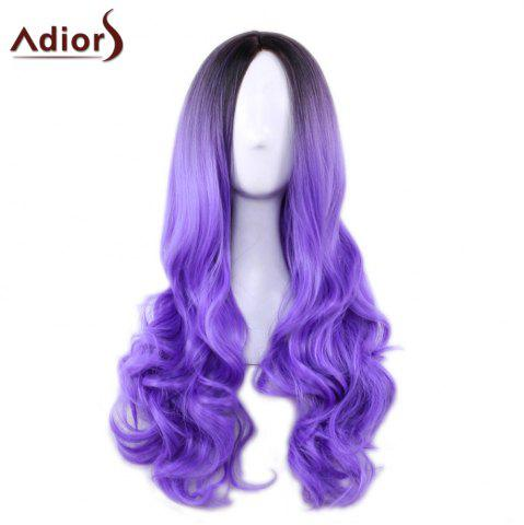 Affordable Adiors Long Middle Part Gradient Wavy Synthetic Cosplay Lolita Wig - BLACK AND PURPLE  Mobile
