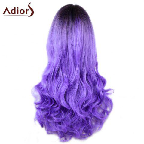 Best Adiors Long Middle Part Gradient Wavy Synthetic Cosplay Lolita Wig - BLACK AND PURPLE  Mobile