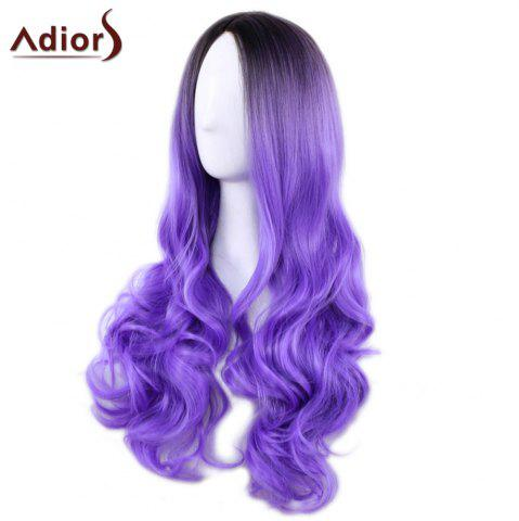 Hot Adiors Long Middle Part Gradient Wavy Synthetic Cosplay Lolita Wig - BLACK AND PURPLE  Mobile