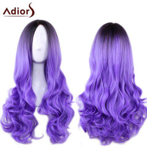 Discount Adiors Long Middle Part Gradient Wavy Synthetic Cosplay Lolita Wig - BLACK AND PURPLE  Mobile
