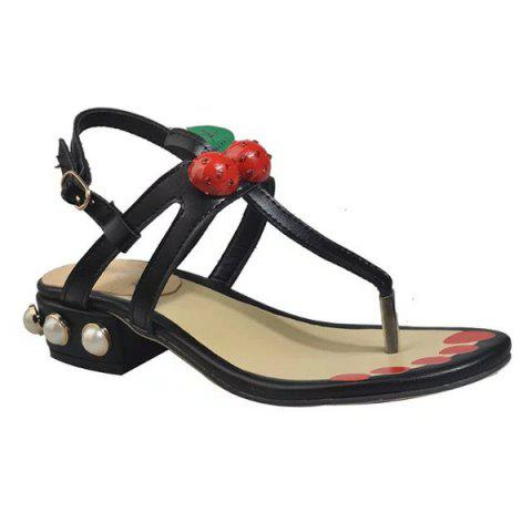Chic Faux Pearls PU Leather Sandals BLACK 39