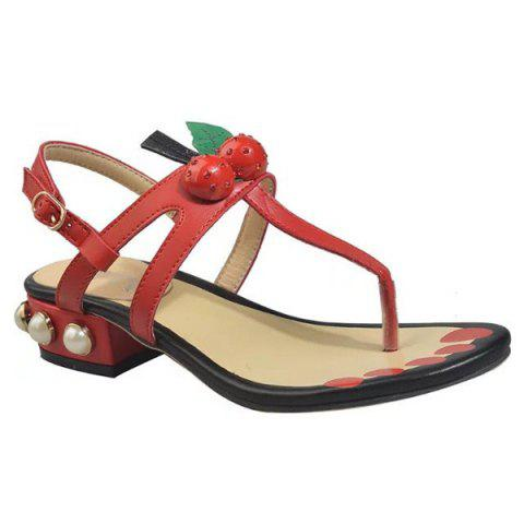 Buy Faux Pearls PU Leather Sandals - 37 RED Mobile