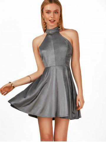 Buy High Neck Lace Up Mini A Line Party Skater Dress - 2XL GRAY Mobile