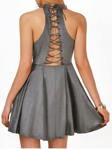 Store High Neck Lace Up Mini A Line Party Skater Dress - 2XL GRAY Mobile
