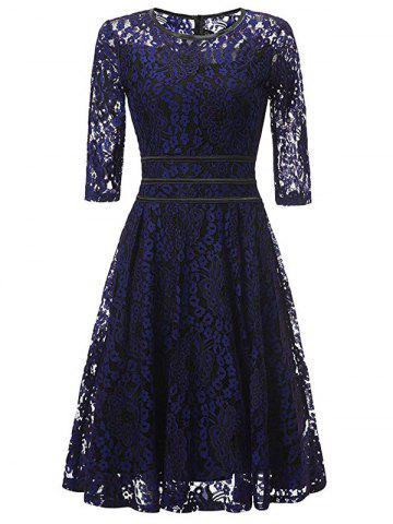 New Lace Floral Vintage Cocktail Dress - M BLUE AND BLACK Mobile