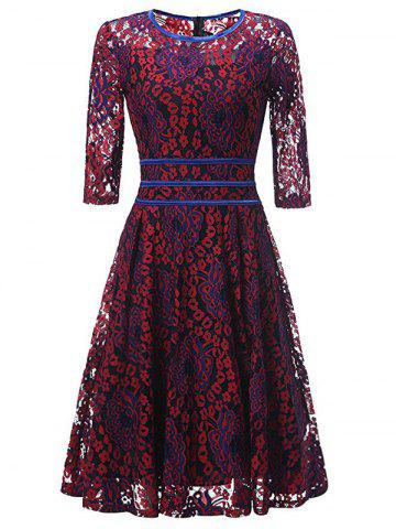 Discount Lace Floral Vintage Cocktail Dress RED XL
