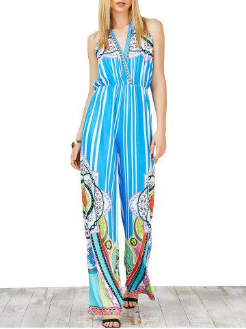 Sale Halter High Waist Striped Jumpsuit