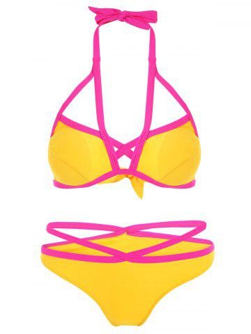 New Two Tone Criss Cross Halter Bikini YELLOW L