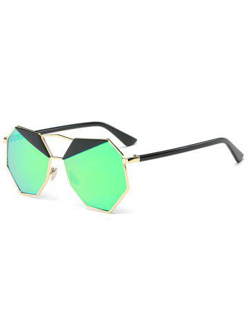 Outfits Metal Crossbar Mirrored Irregular Polygon Sunglasses GOLD FRAME / GREEN LENS