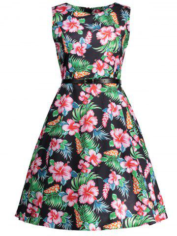 Online Vintage Floral Knee Length Flare Dress