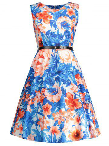 Cheap Sleeveless Floral Print Vintage Swing Dress BLUE S