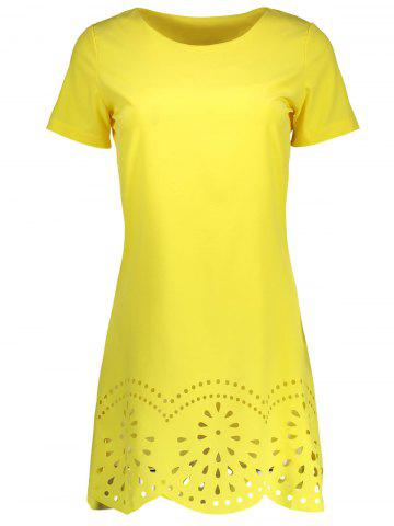 Hot Hollow Out Scalloped Casual Mini Dress YELLOW S