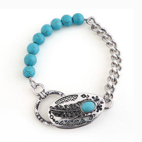 Faux Turquoise Engraved Feather Beads Bracelet - Silver
