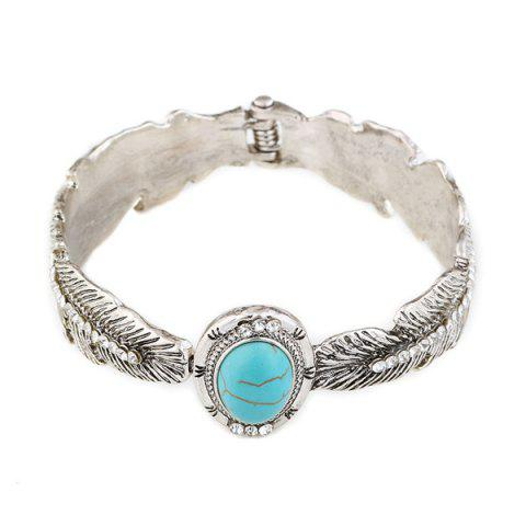 Discount Alloy Faux Turquoise Feather Bracelet - SILVER  Mobile