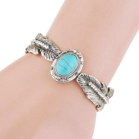 Affordable Alloy Faux Turquoise Feather Bracelet - SILVER  Mobile