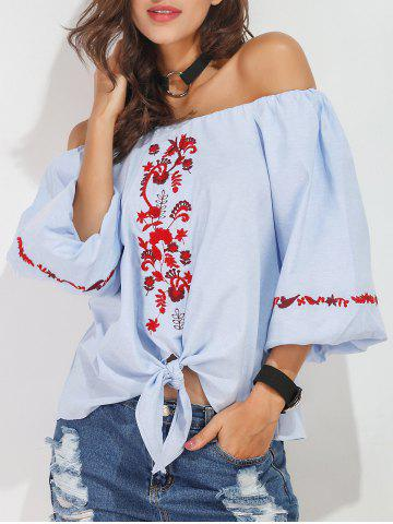 Trendy Off The Shoulder Embroidered Blouse