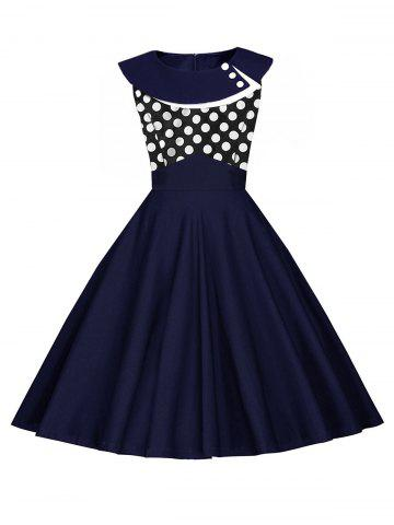 Outfits Vintage Polka Dot Pin Up Dress - 2XL PURPLISH BLUE Mobile